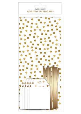 Waste Not Gold Confetti Dot Cello Bags with Tags