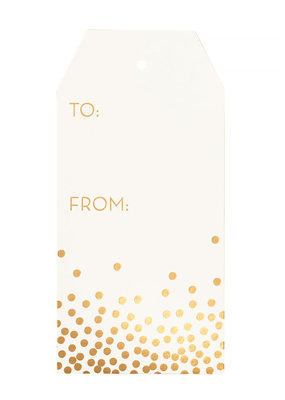 Waste Not Gift Tags Gold Confetti