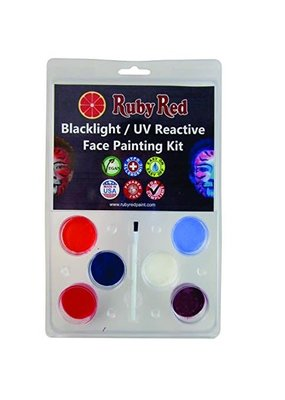 Ruby Red Face Paint Kit UV Reactive