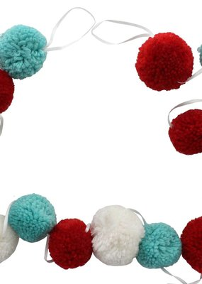 """Sierra Pacific Crafts Garland Pom Pom Chenille 76"""" Red/White/Teal"""
