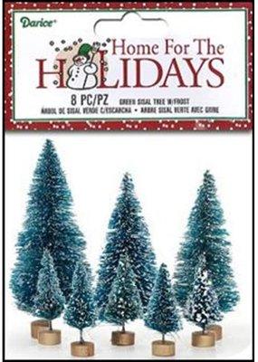 Darice Sisal Bottle Brush Trees Frosted 8 Pack