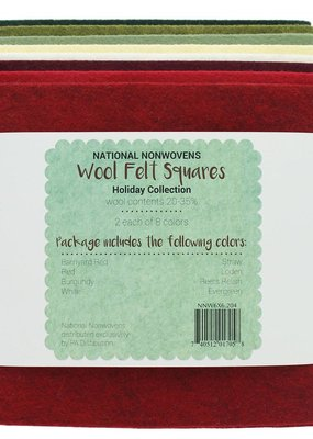 National Nonwovens Wool Felt Squares Holiday Colors