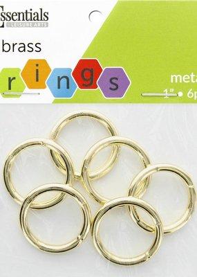 Leisure Arts Metal Rings Brass 1 Inch 6pc.