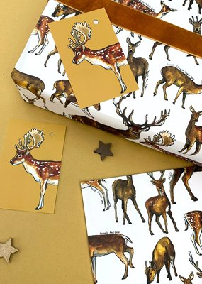 Alexia Claire Ltd. Wrapping Paper & Tag Set Deer of Britain