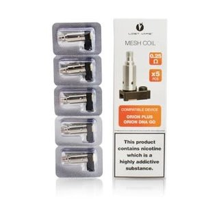 Lost Vape Box of 5 Lost Vape Orion Dna PLUS  Replacement Coils- 0.25ohm