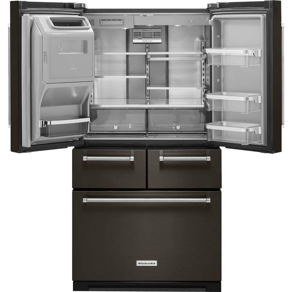 kitchenaid 25.8 french door refrigerator black stainless
