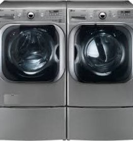 """LG LG 29"""" 5.2 Steam Front Load Washer & Gas Dryer w/ Pedestals"""
