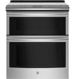 GE GE Profile Slide-In Convection Double  Electric Range Stainless