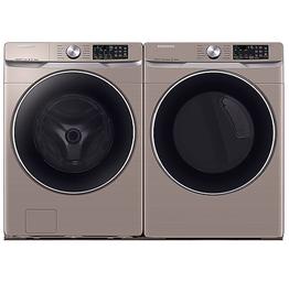 Samsung Samsung 4.5 Steam Front Load Washer 7.5 Steam Gas Dryer Champagne