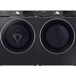 Samsung Samsung 4.5 Steam Front Load Washer 7.5 Steam Gas Dryer Black Stainless