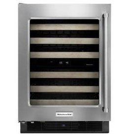 "KitchenAid Kitchenaid 24"" 46-Bottle Built-In Wine Cooler Stainless"