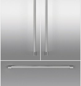 """Fisher & Paykel FISHER & PAYKEL 80"""" Tall Integrated French Door Unbranded Panel  3 Panels 3 Professional Handles Stainless"""