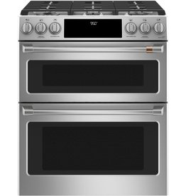 GE GE Cafe Slide-In Convection Double Oven Dual Fuel Range Stainless