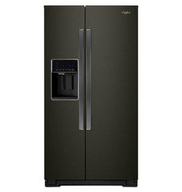 GE Whirlpool 21.0 Counter Depth SxS Refrigerator Black Stainless