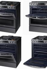 Samsung Samsung Slide-In Convection FlexDuo Gas Range Black Stainless