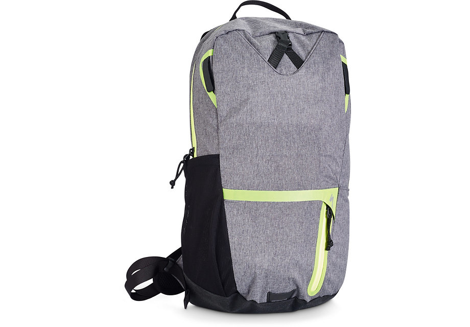 Base Miles Featherweight Backpack. Heather Grey/  Hyper Green