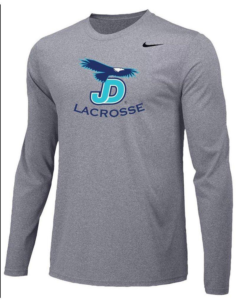 JD Lacrosse Long Sleeve Nike Legend Tee Grey
