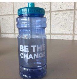 Be The Change, blue/teal water bottle w/spot