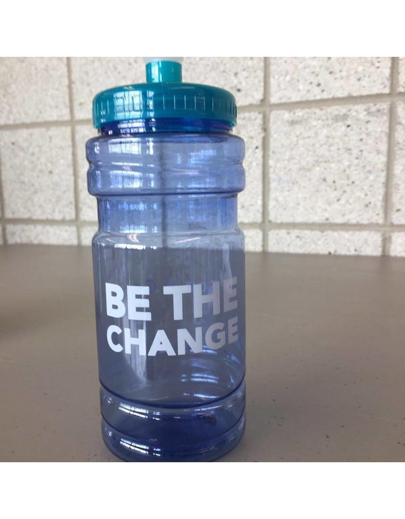 Be The Change, blue/teal water bottle w/spot