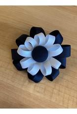 2 Layer Button Flower Ribbon Bow Hair Clip