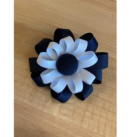 2 Layer Button Flower Ribbon Bow Hair Clip