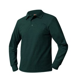 SHIRT - Pique Polo Long Sleeve Shirt, Green, Unisex