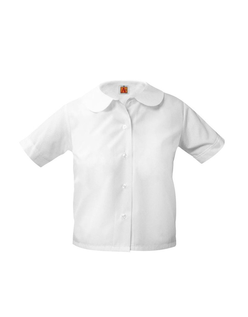 Girls Peter Pan White Short Sleeve Blouse