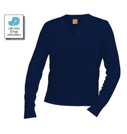 JD V-Neck Long Sleeve Pullover Sweater, Unisex, Navy