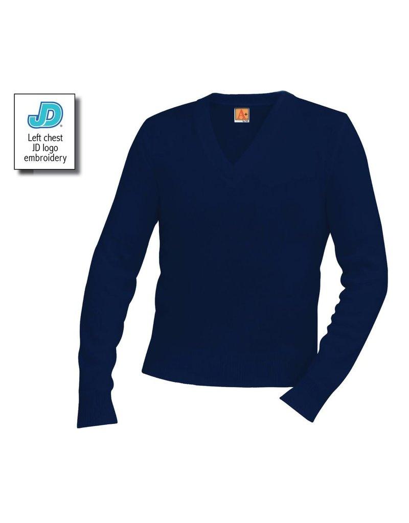 JD V-Neck Long Sleeve Pullover Sweater, Unisex, Navy