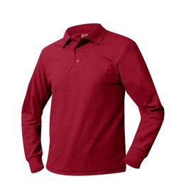 SHIRT - Pique Polo Long Sleeve Shirt, Red, Unisex