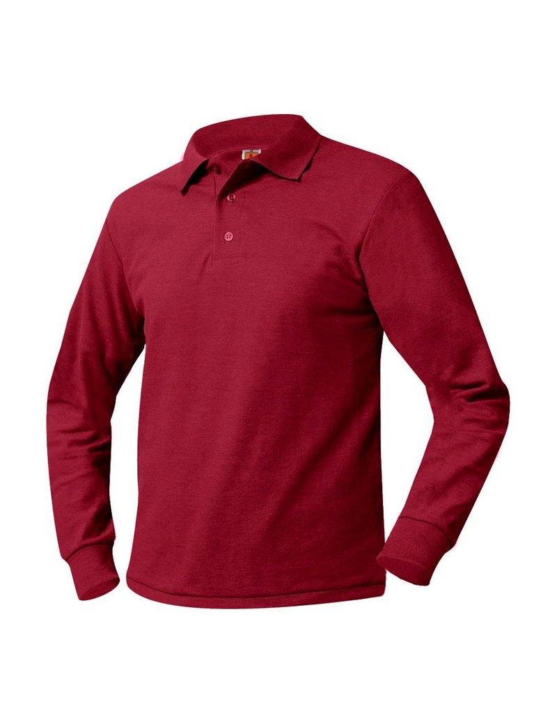 SHIRT - Pique Polo Long Sleeve Shirt, Red, Unisex