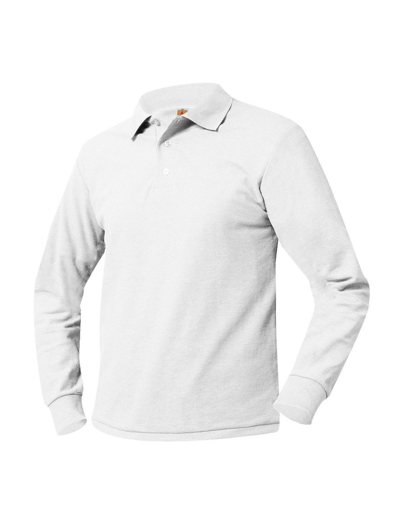 SHIRT - Pique Polo Long Sleeve Shirt, White, Unisex