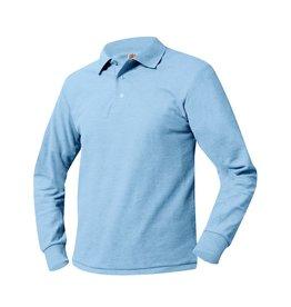 SHIRT - Pique Polo Long Sleeve Shirt, Light Blue, Unisex