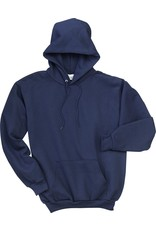 Navy Hooded Pullover with center front pocket.