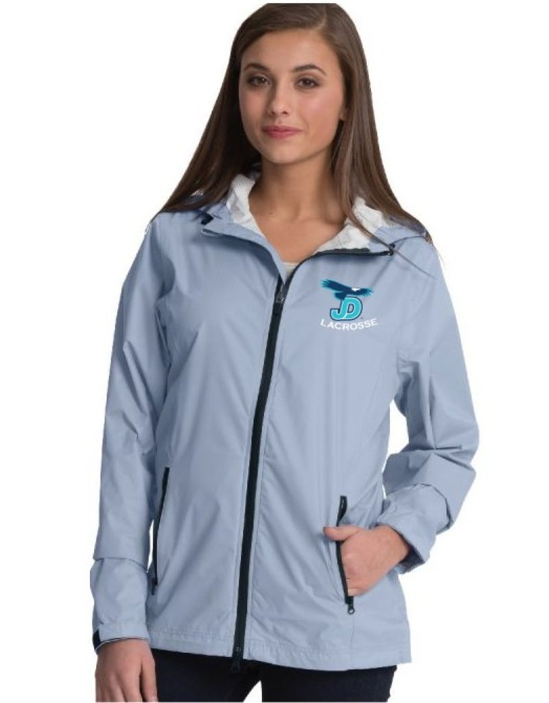 Women's Grey JD Lacrosse Rain Jacket with embroidered logo