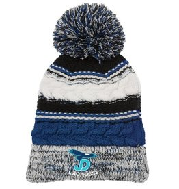 JD Lacrosse embroidered on blue striped hat.