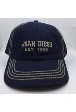 Juan Diego hat navy with khaki embroidery est. 1999;adj back