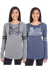 Volleyball lightweight hoodie with logo on chest in blue or grey