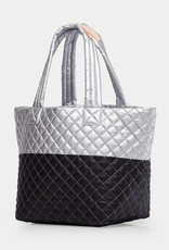 MZ Wallace Medium Metro Tote - Tin Metallic/Black