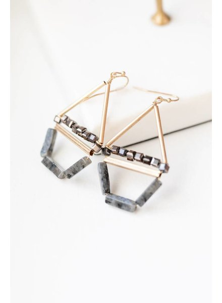 Mint + Major Drop Triangle Beaded Stone Earrings