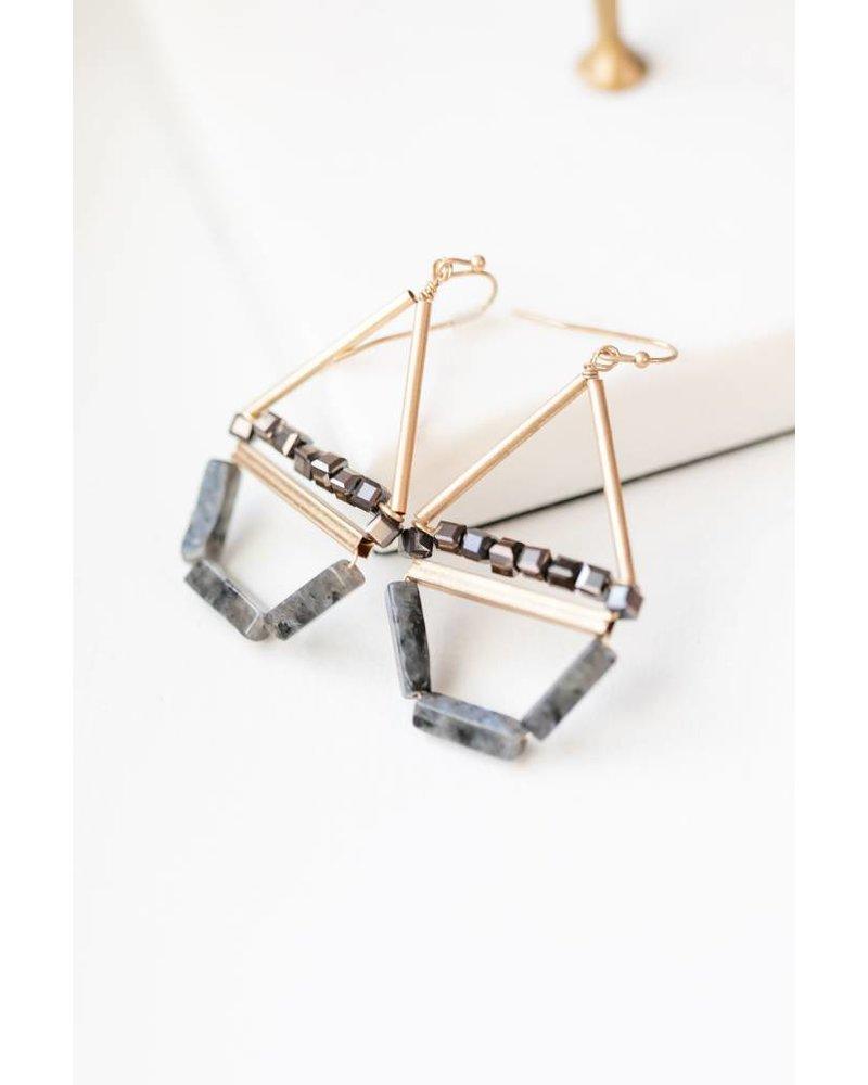 Mint + Major Drop Triangle Beaded Stone Earrings