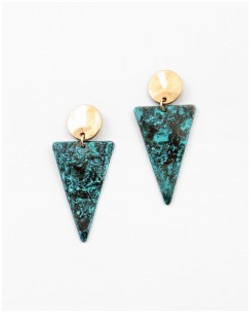 Mint + Major Triangle Gold & Patina Earrings