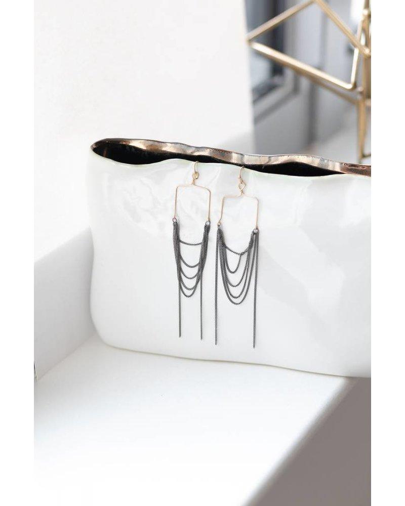 Mint + Major Thin Metal Fringe Earrings