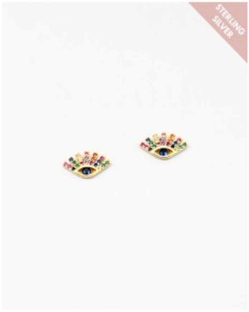Mint + Major Evil Eyelash Earrings