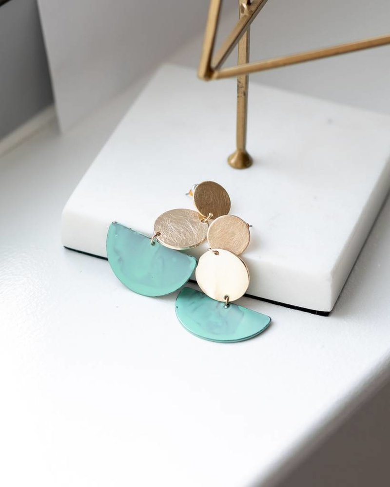 Mint + Major Three Tiered Patina Earrings