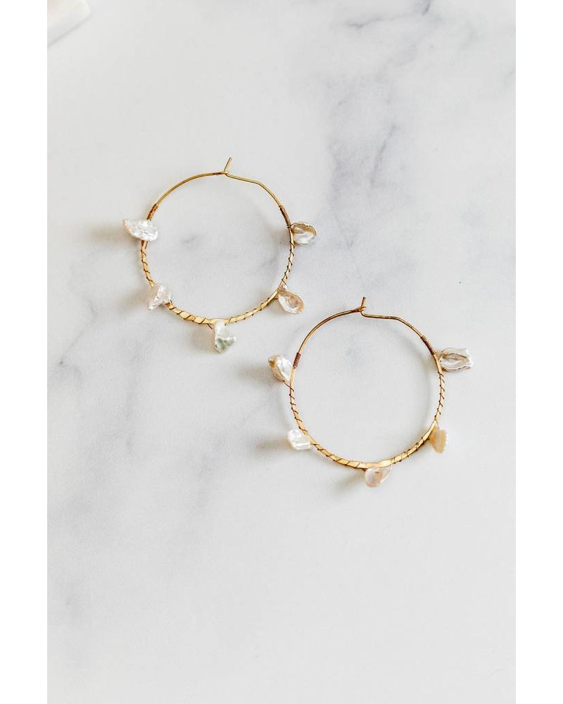 Mint + Major Medium Shell Hoops