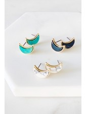 Mint + Major Marble Moon Studs