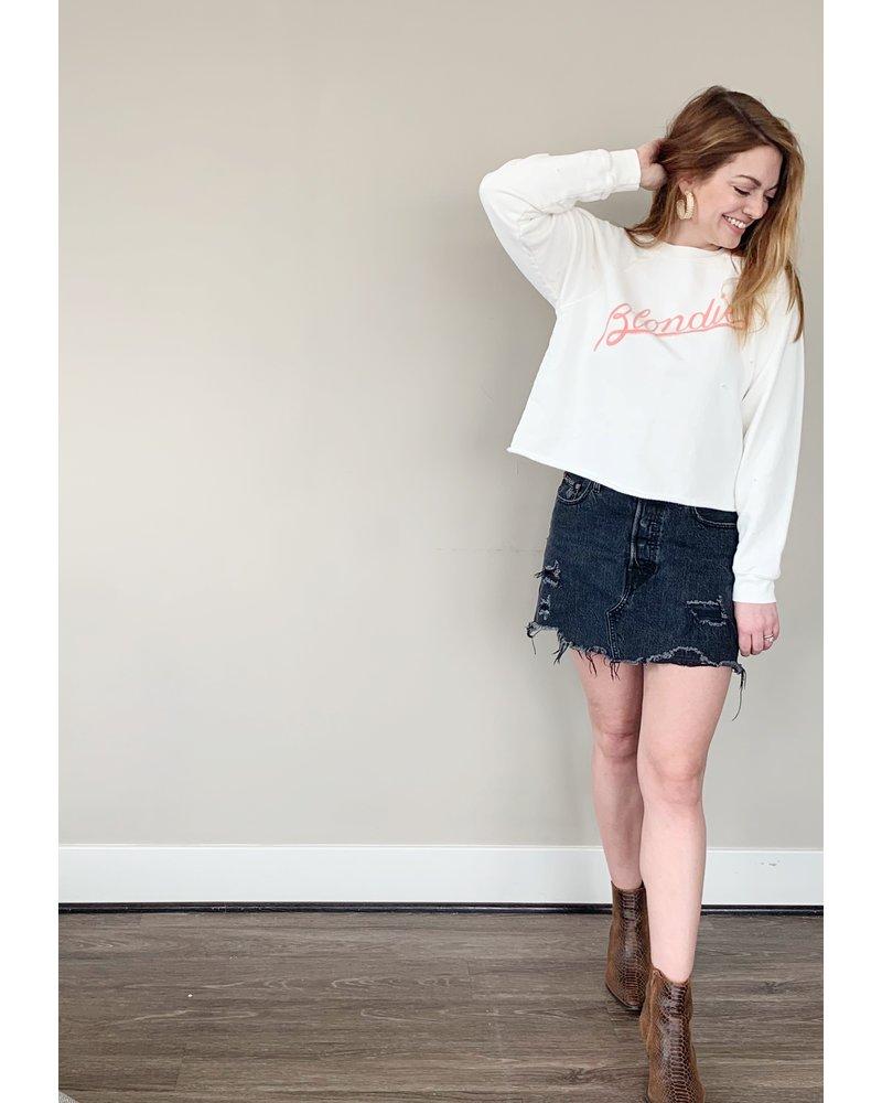 Blondie  Script Crop Sweatshirt