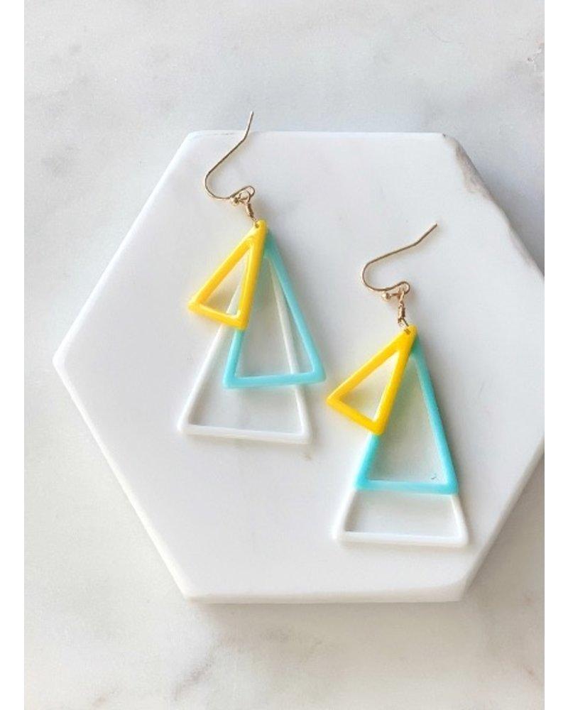 Mint + Major Three Tiered Triangle Earrings