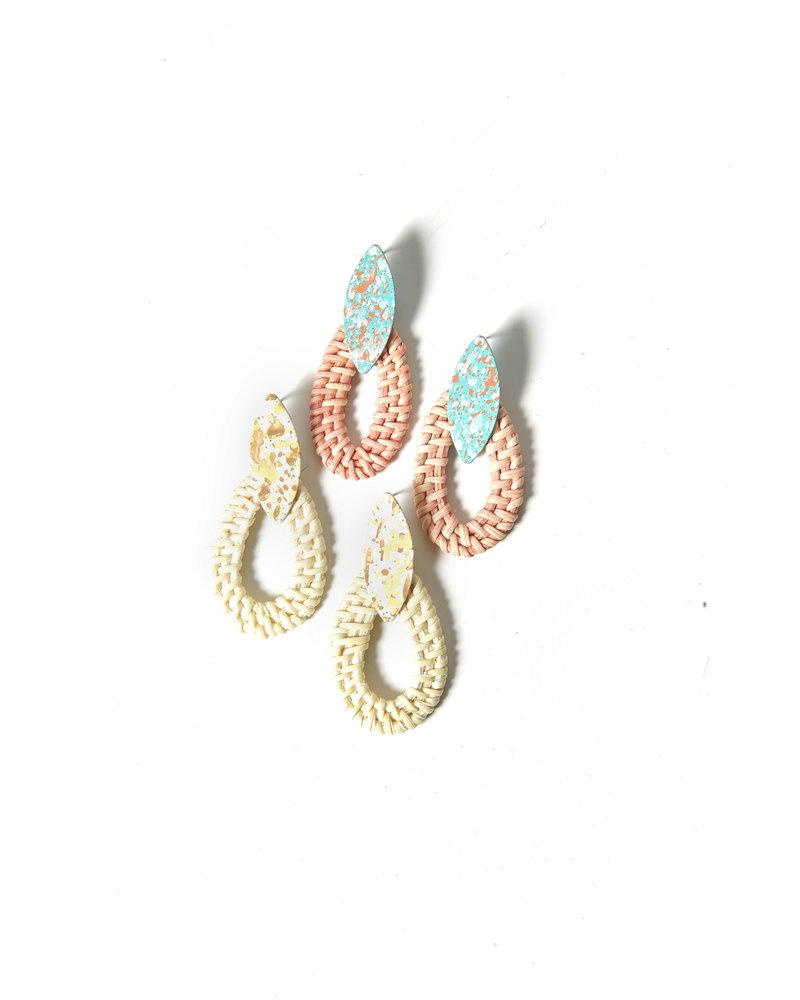 Mint + Major Metal & Rattan Earrings